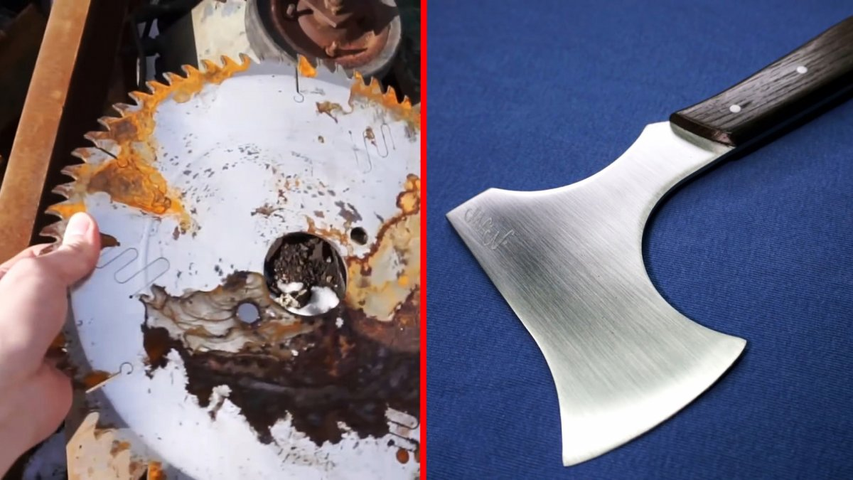 Как из старого диска сделать легкий походный топорик без ковки и термообработки