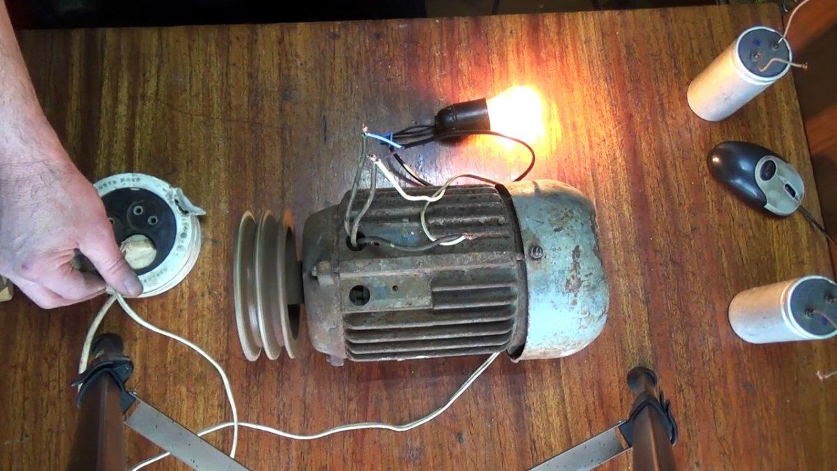 Новый «Ламповый» способ включения трехфазного электродвигателя в однофазную сеть 220 В