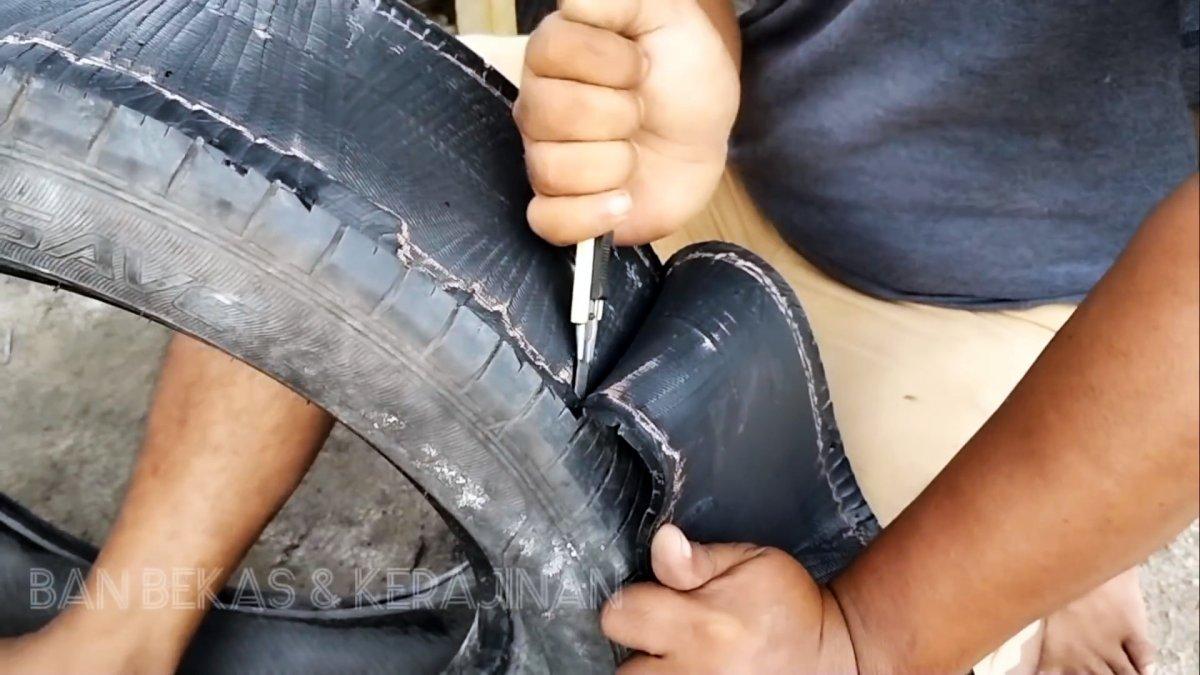 Ремонтируем прохудившуюся подошву автомобильной шиной