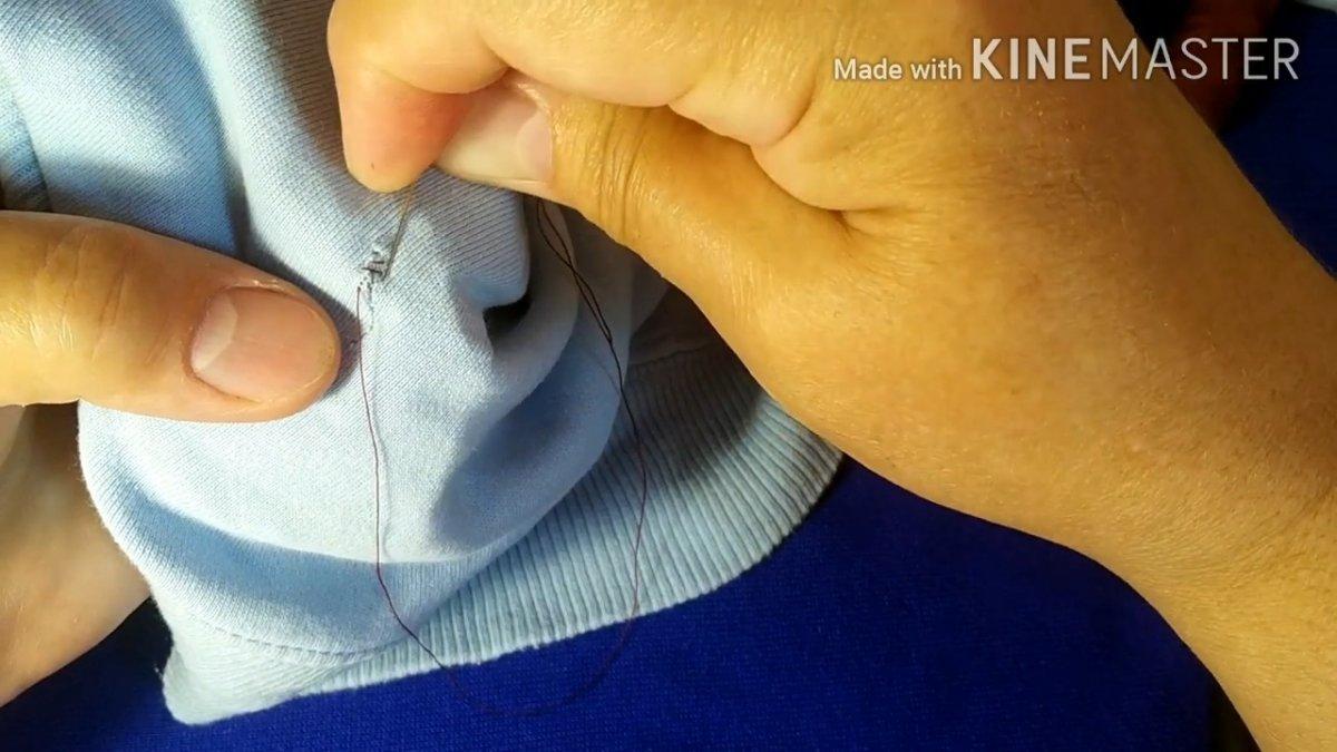 Как зашить дырку потайным швом при помощи скотча