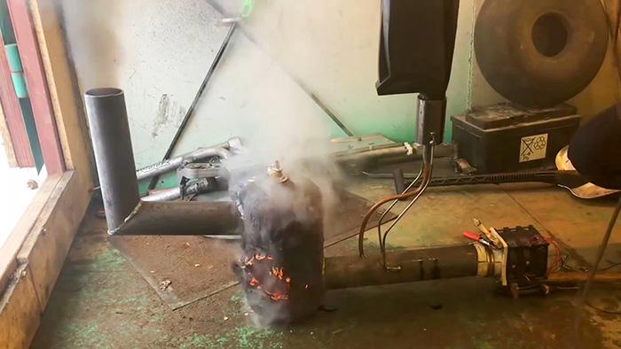 Как сделать печь на отработке в гараж всего за 1 час