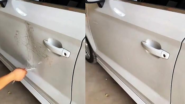 Как удалить вмятину на машине при помощи обычного скотча