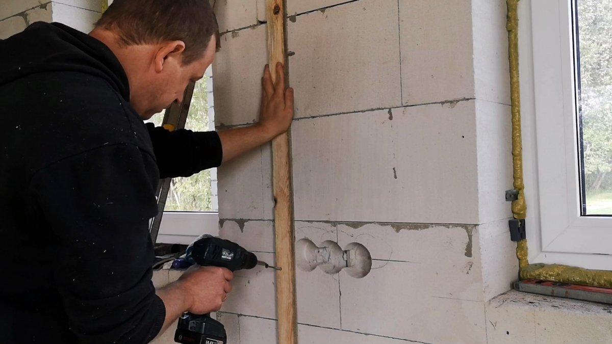 Как штробить стену дрелью без штробореза в газобетоне