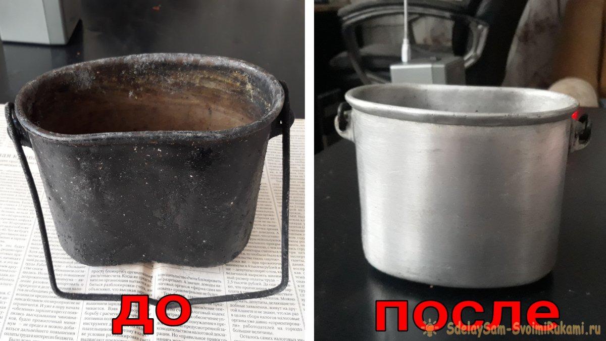 Как очистить походный котелок от копоти и нагара старинным способом