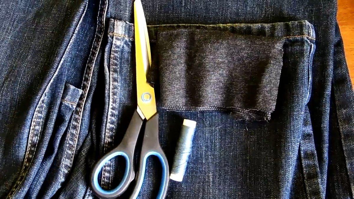 Как зашить потертость между штанин на джинсах