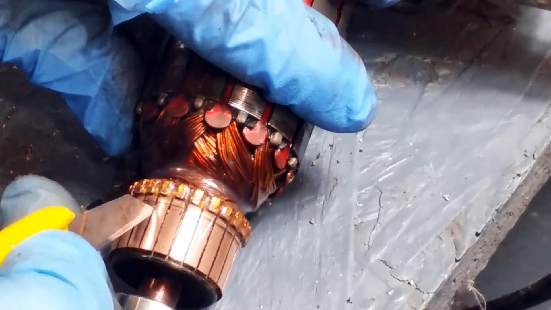 Как без токарного станка почистить коллектор ротора электродвигателя