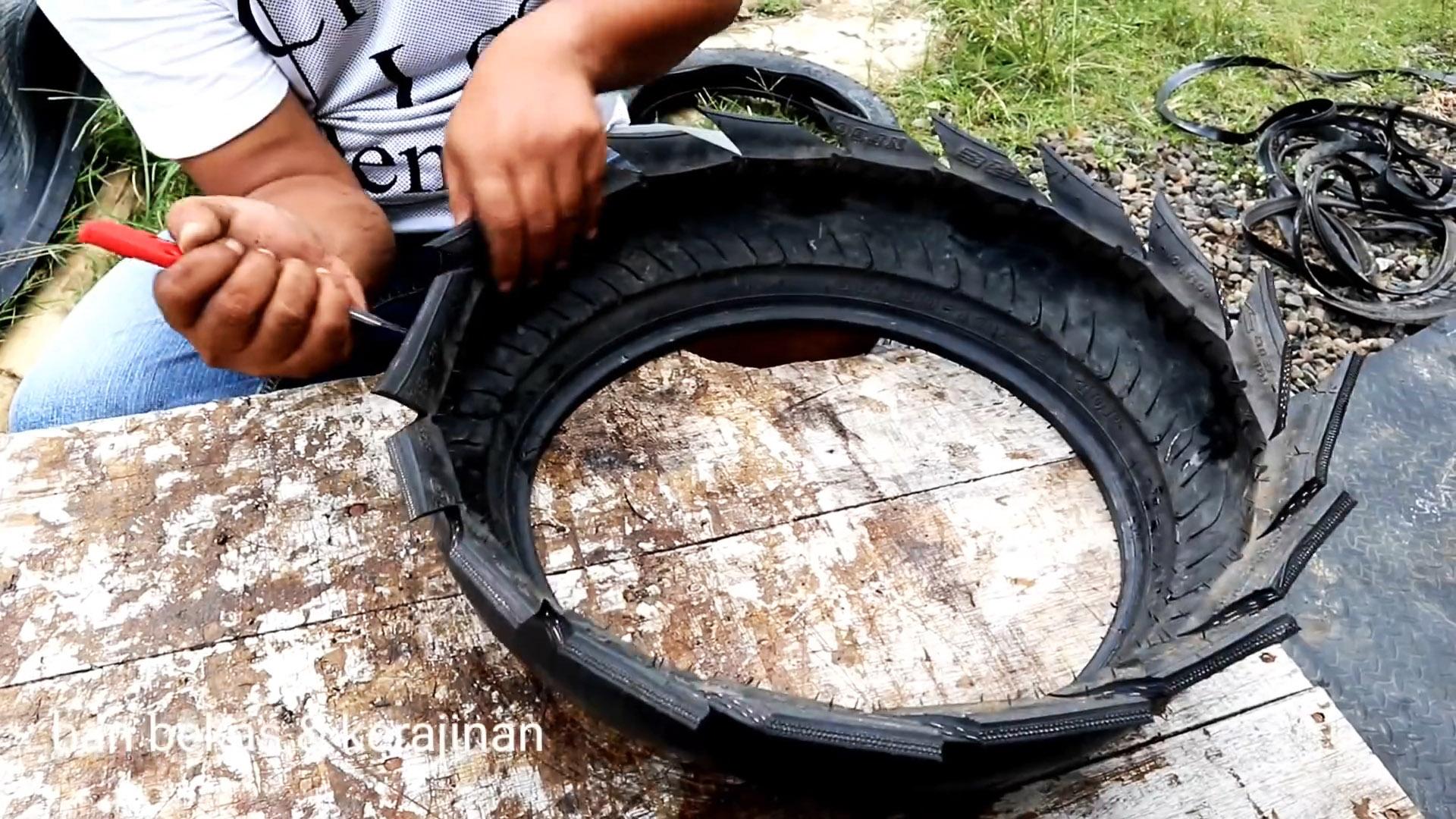Как сделать садовый вазон из мотошин