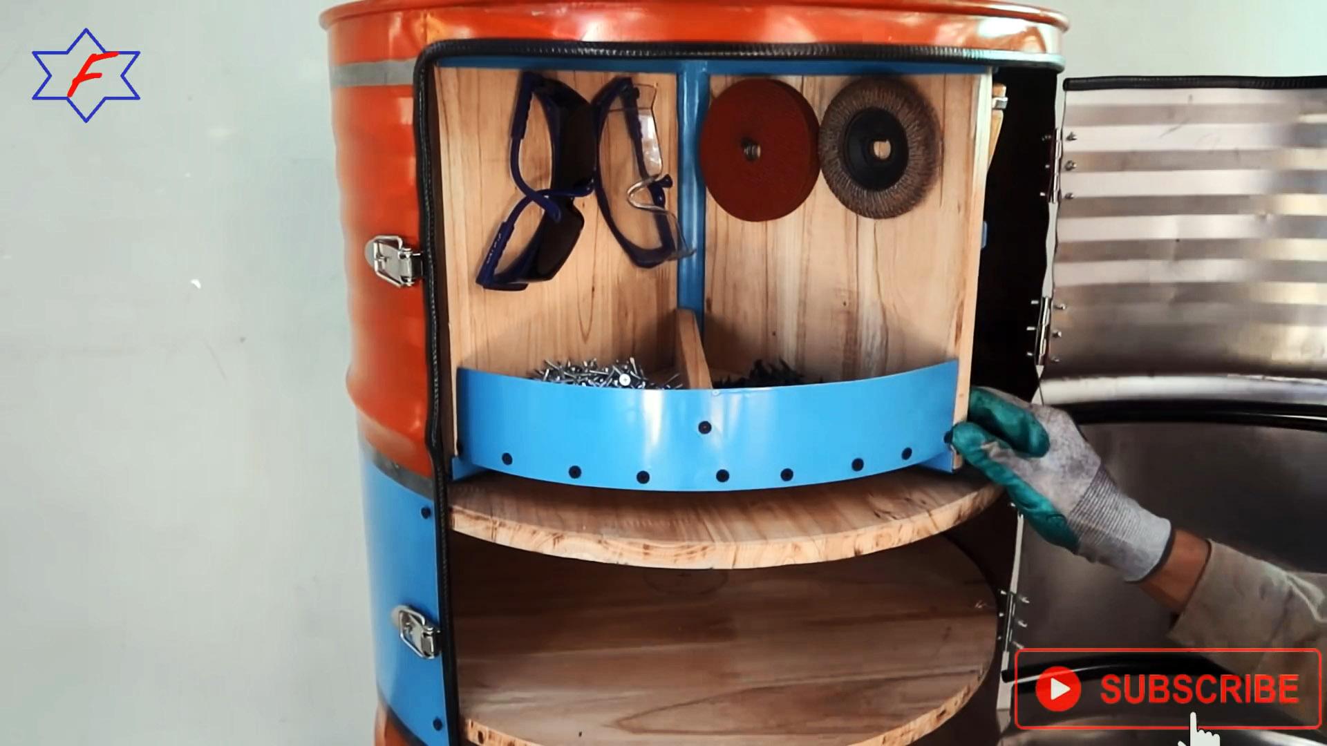 Как из стальной бочки сделать мобильную тумбу для хранения инструментов