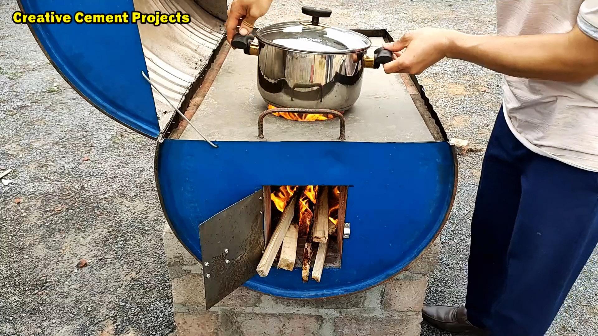 Как сделать уличную печь-гриль из 200 литровой бочки