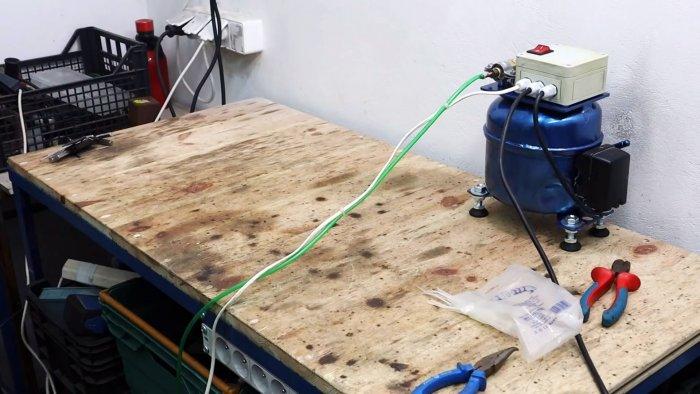 Как сделать мощный оловоотсос из компрессора холодильника