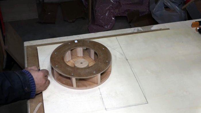 Как из дерева сделать производительный вентилятор для мастерской
