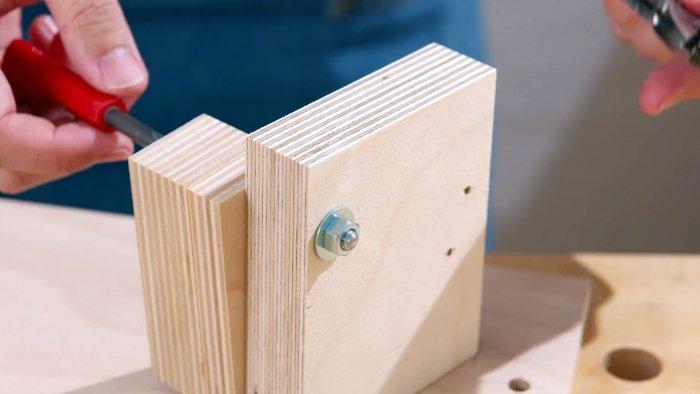 Как из остатков фанеры сделать приспособление для двухугловой заточки сверл