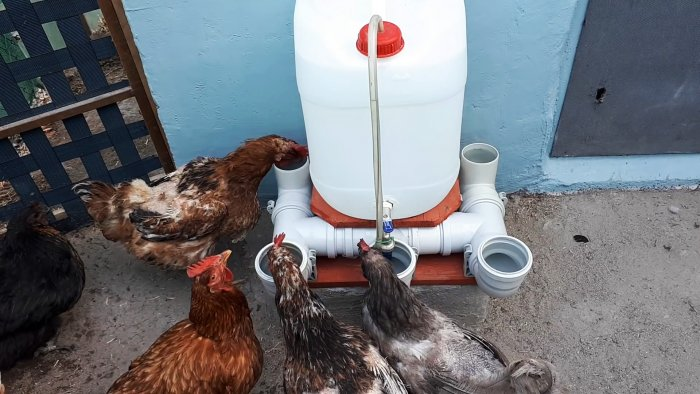 Автоматическая поилка для домашней птицы из канализационных тройников и колен