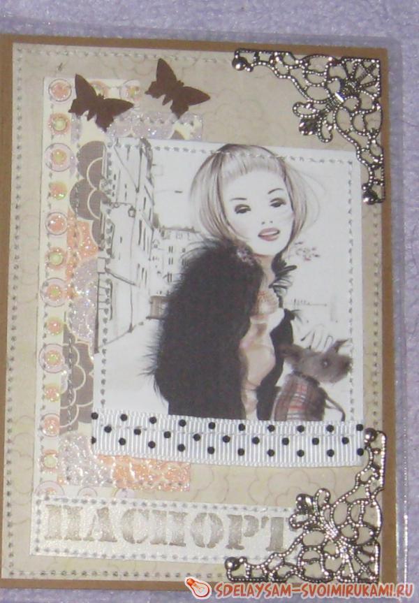 Обложка из ткани для паспорта скрапбукинг 3