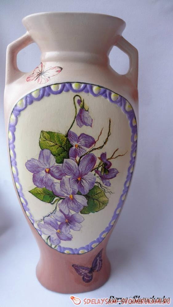 Декупаж на керамической вазе мастер класс