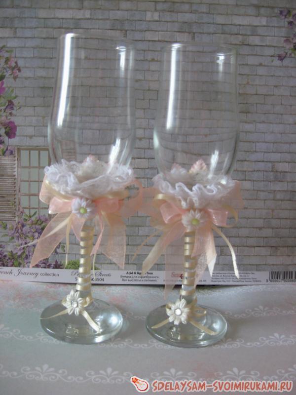 Сделать самой свадебные бокалы