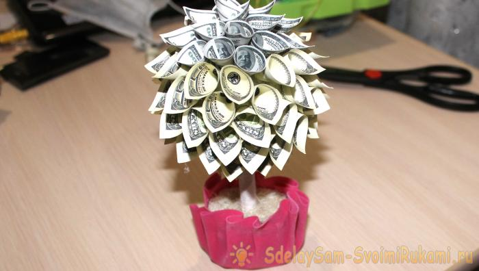 Как сделать самим денежное дерево из купюр