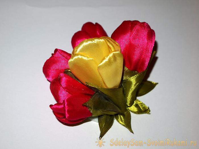 Тюльпаны из атласной ленты своими руками мастер класс 94