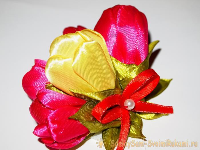Тюльпаны из атласной ленты своими руками мастер класс 89