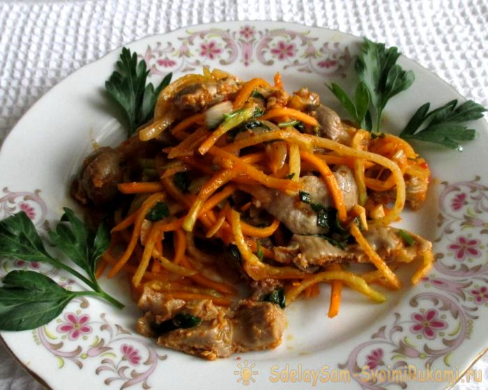 салат из куриных желудочков с фото