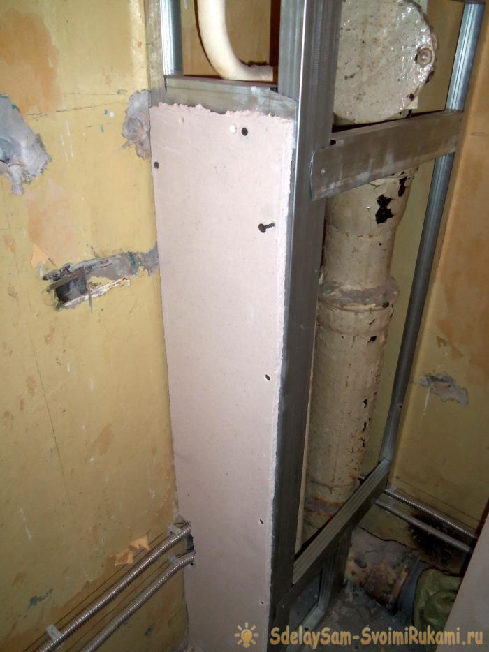 Туалет из гипсокартона своими руками в деревянном доме 73