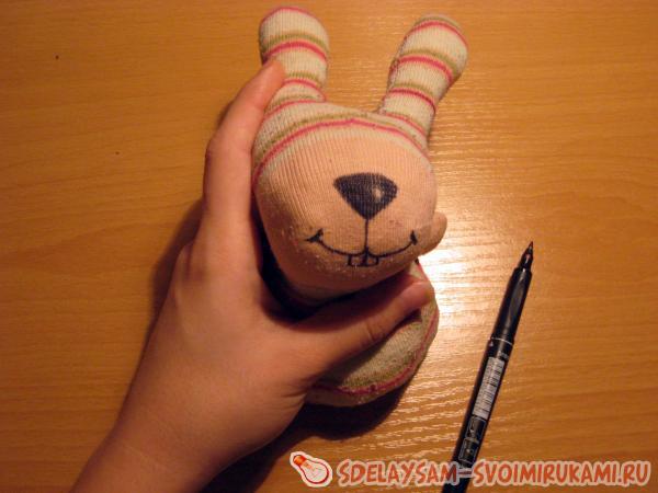 Заяц из носка своими руками пошагово