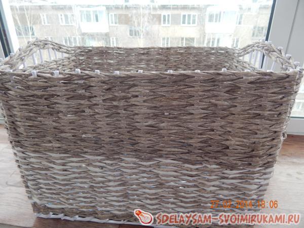 Плетение лукошка лозы