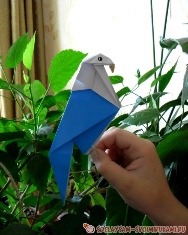 Как сделать из бумаги попугай с