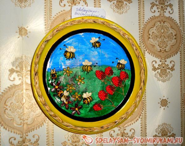 """Декоративная тарелочка """"Пчелы на цветах"""" """" Сделай сам своими руками - поделки и мастер-классы"""