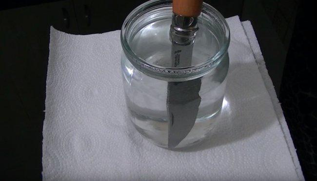 Воронение ножа в лимонной кислоте