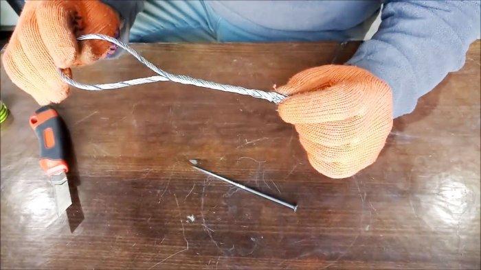 Как заплести конец троса в петлю