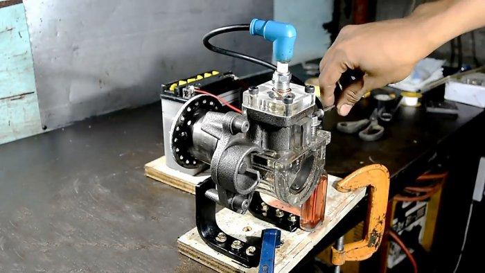 Как сделать бензиновый двигатель из компрессора холодильника