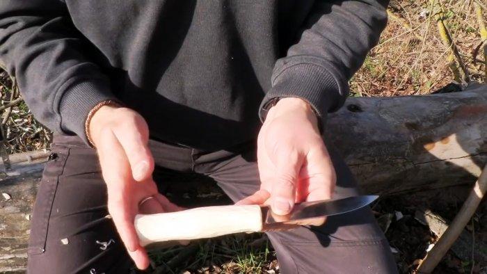 Самый простой всадной монтаж рукоятки ножа без клея