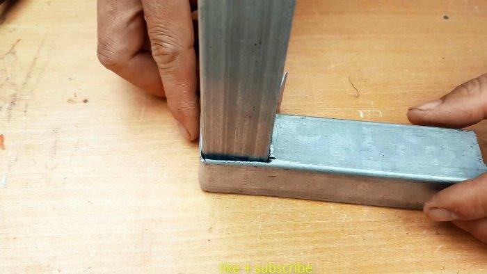 Как соединить профильные трубы в 3 угла под 90 градусов без сварки
