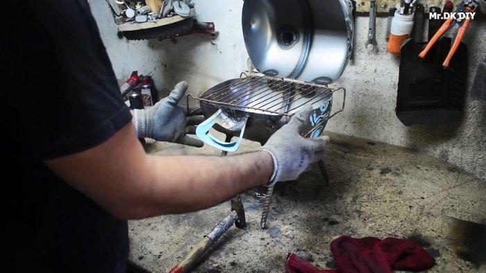 Простой мини мангал из баллона от фреона