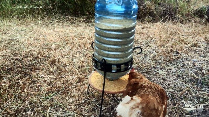 Как сделать простую кормушку для кур из ПЭТ бутыли