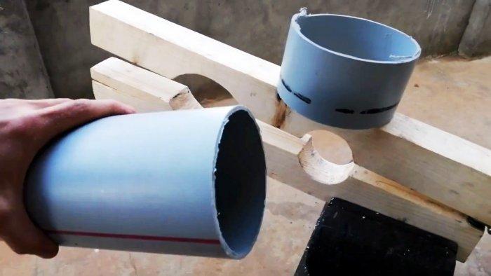 Простое самодельное приспособление для резки ПВХ труб