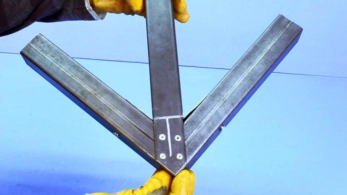 Как сделать соединение профильных труб без сварки под прямым углом с укосиной